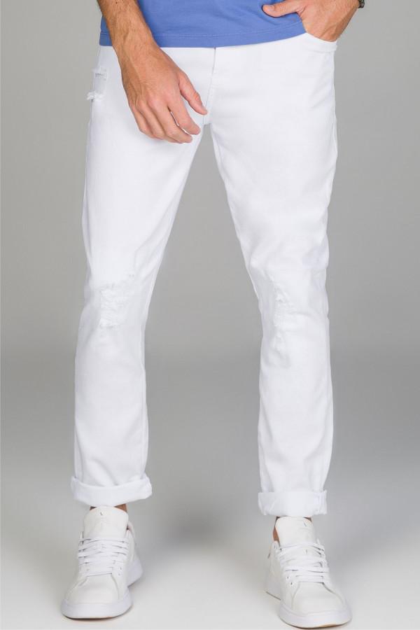 Calça Slim Crop em sarja com tingimento